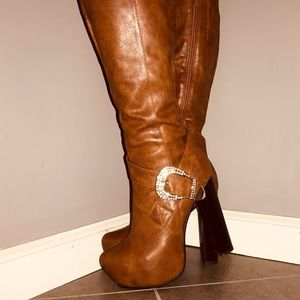Shoes - Tan Faux Leather High Heel Rhinestone Buckle Boots